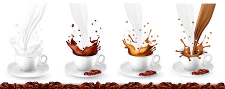 Set of coffee, cappuccino and milk splash in cups. Vector illustration.