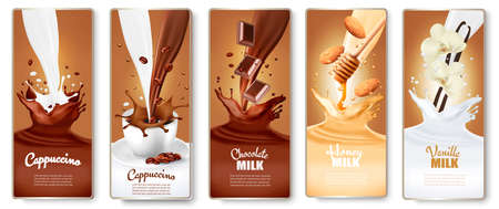 Set of labels with cappuccino, coffee, milk with honey, chocolate and vanilla splashes.