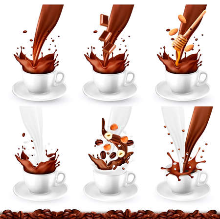 Set of coffee and cappucino with different flavors and splash in cups. Milk, chocolate, nuts, honey, vanilla. Vector illustration.