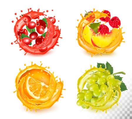 Set of fruit juice splash. Rawberry, orange, grapes, peachy and raspberry Иллюстрация