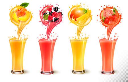 Conjunto de splash de jugo de fruta en un vaso. Fresa, melocotón, frambuesa, mango, mora y guayaba. Ilustración de vector