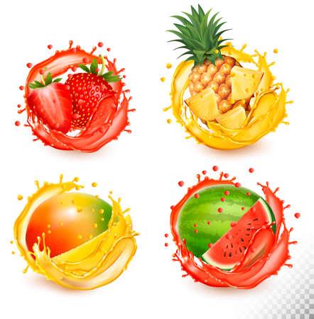 Set of fruit juice splash. Strawberry, pineapple, watermelon and mango.