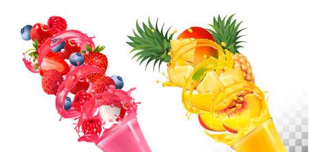Set of fruit juice splash in glasses. . Strawberry, raspberry, blueberry, pineapple, mango, peach, lychee. Vector.