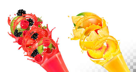Fruit in juice splashes.