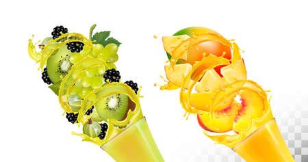 Set of fruit juice splash in glasses. Иллюстрация