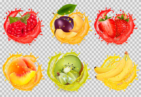 Set of fruit juice splash.