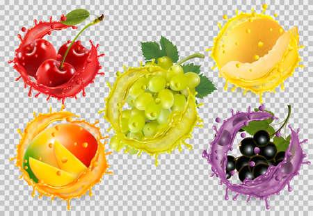 Set of fruit in juice splash.