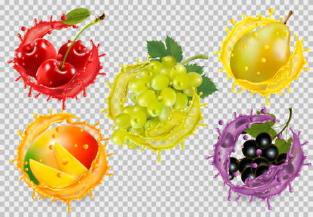 Set of fruit in juice splash on transparent