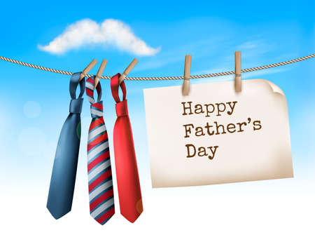 Happy Fathers Day  With A Three Ties On Rope and Mustache Shaped Cloud. Иллюстрация