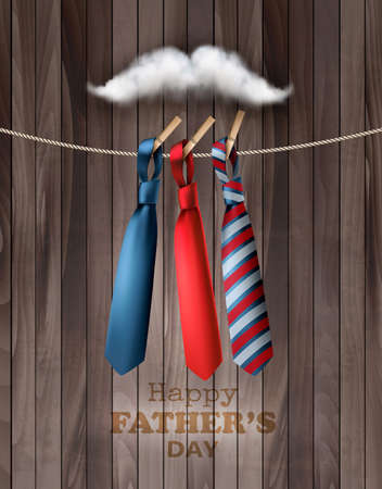 Happy Fathers Day Background With A Colorful Ties On Rope and Moustach made out of Clouds. Vector.