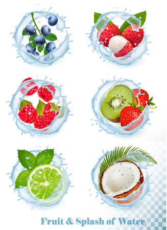 Set of different water splashes with fruit and berries. Blueberry, lychee,  raspberry, kiwi, strawberry, lime, mint and coconut.