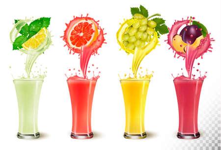 Set of fruit juice splash in   glasses. Mint, lemon, grapefruit, grapes and plum. Illusztráció