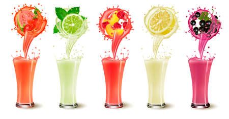 Set of fruit juice splash in glasses. Strawberry, guava, mint, lime, raspberry, peach, grapefruit and blackberry.