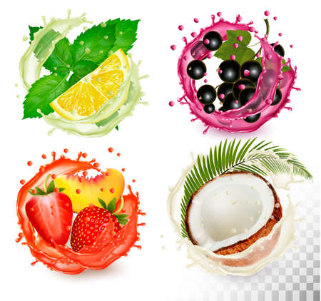 Group of fruit in juice splash icons. Mint, citron, coconut, peach and strawberry and blackberry.