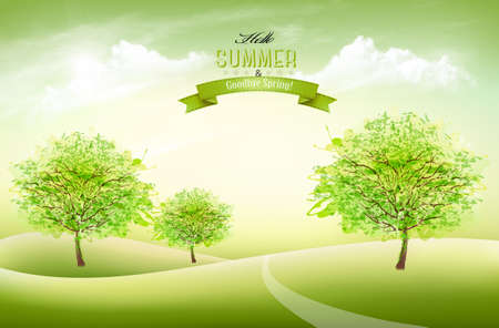 Summer nature background with green trees and white clouds.