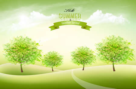 Beautiful summer nature background with a green trees and landscape. Vector.  イラスト・ベクター素材