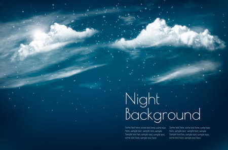 Night sky background with white clouds and stars. Иллюстрация