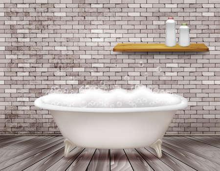 Luxury vintage bathtub with soap foam in bathroom. Vector illustration