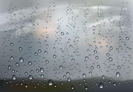 Realistic raindrop on the transparent window. Иллюстрация