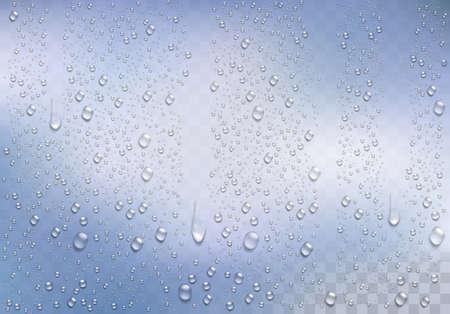 Gouttes de pluie réalistes sur le fond transparent. Vecteurs