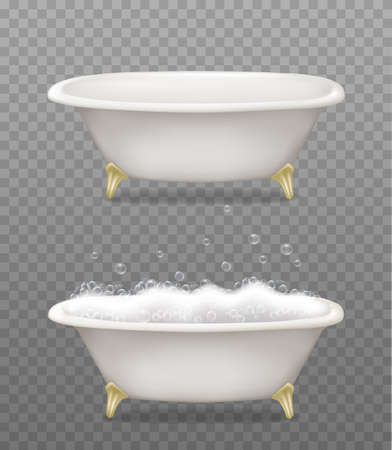 Set of white bathtubs with soap foam and bubbles on transparent background.