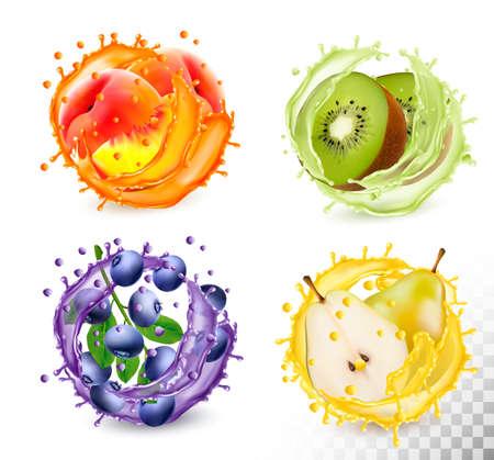 Set of fruit juice splash in a glasses transparent background
