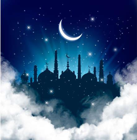 Islamic greeting Eid Mubarak card for Muslim Holidays.