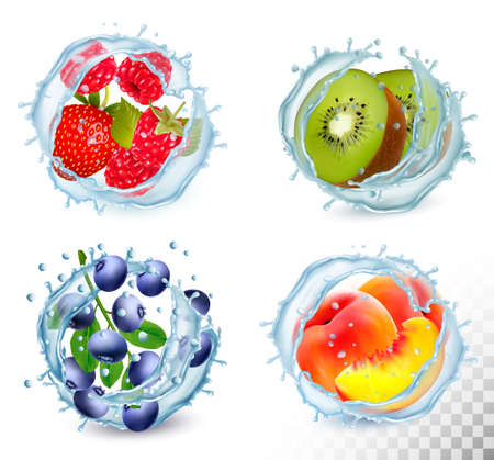 Set of different water splashes with fruit and berries.