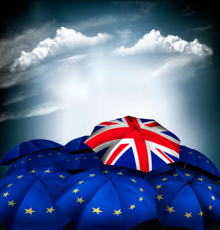 Brexit concept. Umbrella with national flag of the United Kingdom between EU umbrellas. Vector