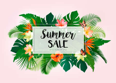 Hot Summer Sale Background With Exotic Leaves And Coloful Flowers. Vector