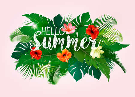 Summer tropical holiday background with exotic palm leaves and flowers. Vector  イラスト・ベクター素材