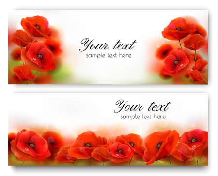 Red Poppy flower banners. Vector illustration