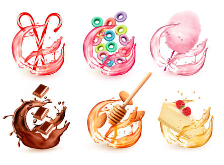 Set of different products flavors in juice splash. Candy lollipops, fruit-flavored cereal, cotton candy, honey and almond, cheescake with respberry, chocolate. Vector icons.