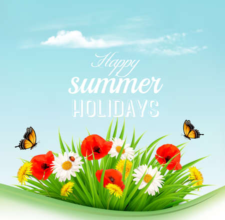 Summer holiday background with a green grass and flowers and butterflies. Vector.