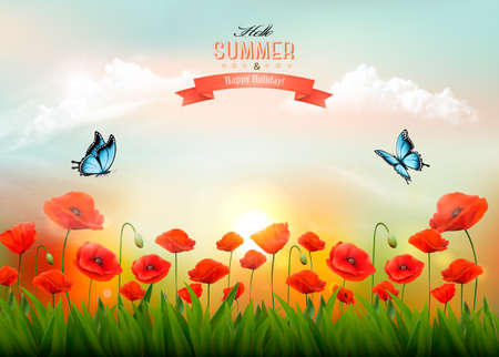 Summer nature background with red poppies and a white clouds. Vector.