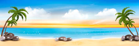 Summer vacation panorama. Tropical beach with a palm tree and blue sea. Vector.