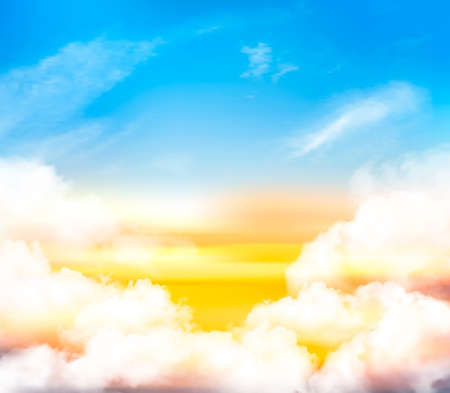 Sunset sky background with white transparent clouds and sun. Vector