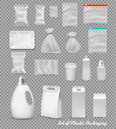 Collection of polypropylene plastic packaging - sack, tray, cup, bottle, box on transparent background. Ilustrace