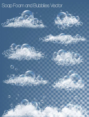 Set of transparent soap bubbles and foam. Vector  イラスト・ベクター素材