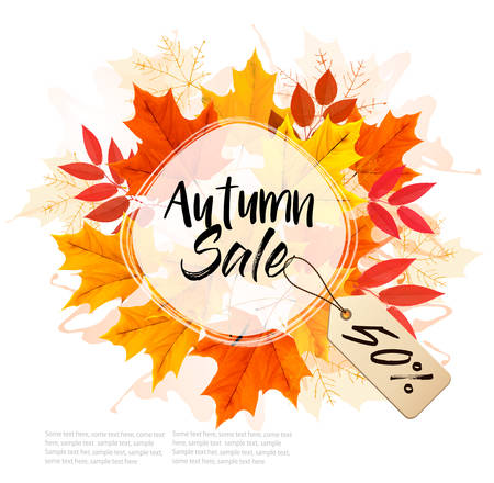 Autumn Sale Card With Colorful Leaves. Ilustrace