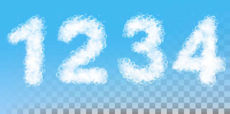 Numbers made out of soap foam and bubbles on transparent background. Vector illustration.