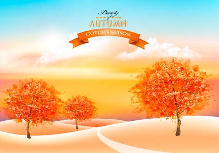Beautiful autumn nature background with colorful trees and landscape. Vector.  イラスト・ベクター素材