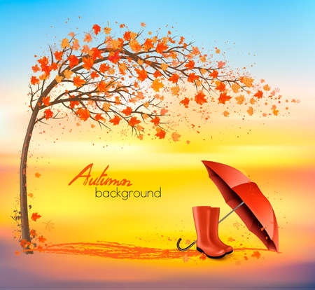 Autumn nature background with trees and umbrella and rain boots. Vector.  イラスト・ベクター素材
