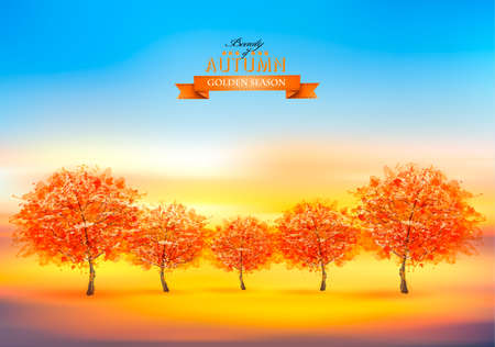 Beautiful gold autumn nature background with colorful trees. Vector.