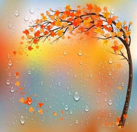 Autumn background with a tree and a colorful leaves and raindrops. Vector.  イラスト・ベクター素材