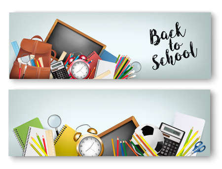 Two Back to School banners With Supplies Tols and Chalkboard. Layered Vector