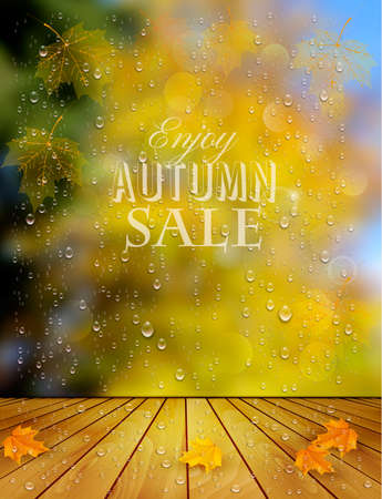 Autumn sale background with a colorful leaves and raindrop. Vector.  イラスト・ベクター素材