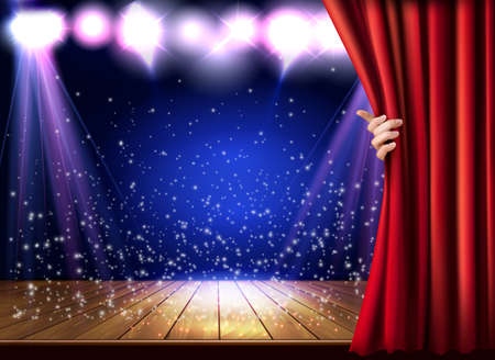 Theater Stage with a Red curtain and Hand.
