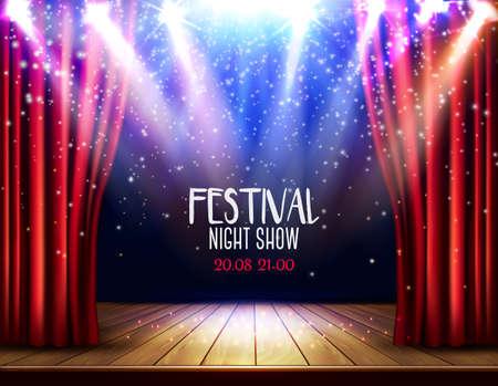 Eine Theaterbühne mit rotem Vorhang und Scheinwerfer. Hintergrund der Festivalnacht-Show. Vektor. Vektorgrafik