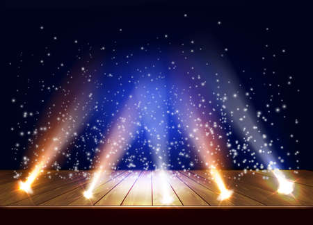 A theater stage with a magic light effect. Festival night show poster. Vector illustration  イラスト・ベクター素材